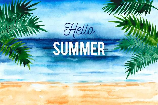 Acuarela hola verano con playa y palmeras