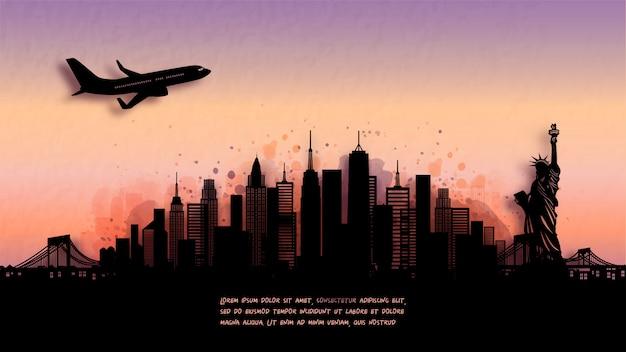 Acuarela del horizonte de silueta de la ciudad de nueva york y famoso monumento.