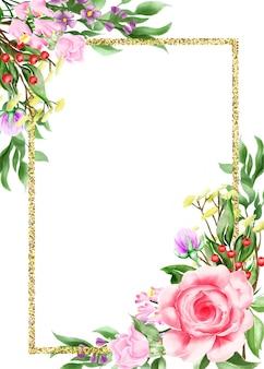 Acuarela ilustración floral marco / frontera