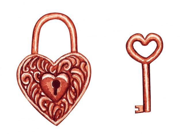 Acuarela ilustración vintage cerradura y llave aislado en blanco.