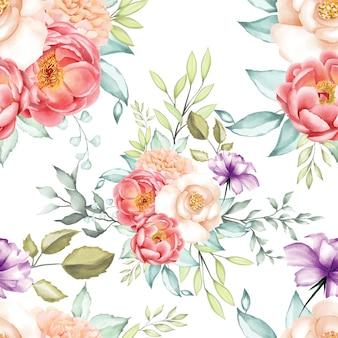 Acuarela inconsútil hermosa del modelo floral y hojas.