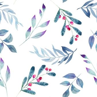 Acuarela invierno azul ramas de patrones sin fisuras