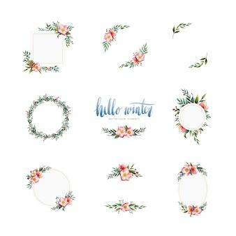 Acuarela de invierno flor y elementos vectoriales