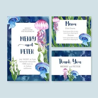 Acuarela de la invitación de boda con un hermoso tema de vida marina, ilustración en color de contraste