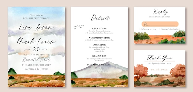 Acuarela invitación de boda paisaje montaña y campo marrón hierba primavera