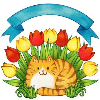 Acuarela jengibre gato atigrado en un jardín de tulipanes con banner de arco