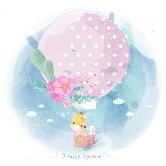 Acuarela jirafa y rata en un globo con flores.