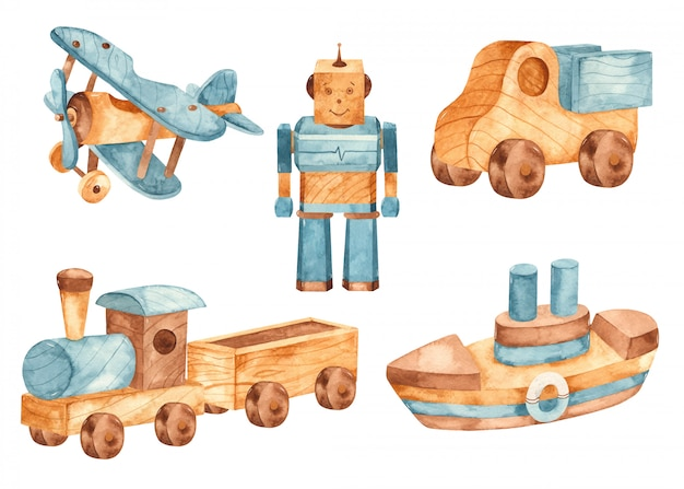 Acuarela de juguete de madera. avión, tren, automóvil, barco, robot