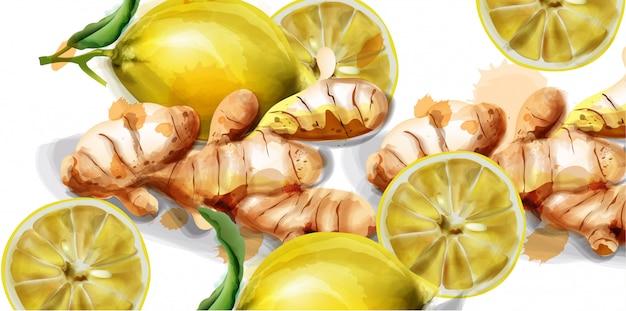 Acuarela de limón y jengibre