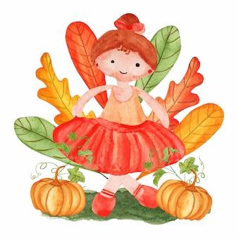 Acuarela linda chica con hojas de otoño y calabaza