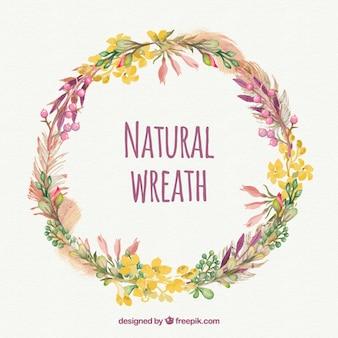 Acuarela linda corona de flores naturales