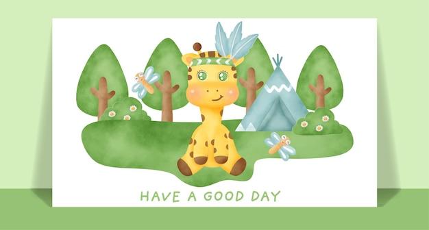 Acuarela linda jirafa boho en la tarjeta de felicitación del bosque.