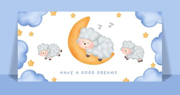 Acuarela linda oveja corre y salta en la tarjeta del cielo.