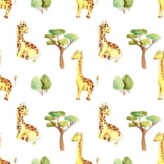 Acuarela lindas jirafas y árboles de patrones sin fisuras