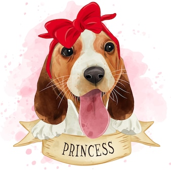 Acuarela lindo cachorro beagle