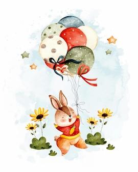 Acuarela lindo conejo con globo y girasoles.