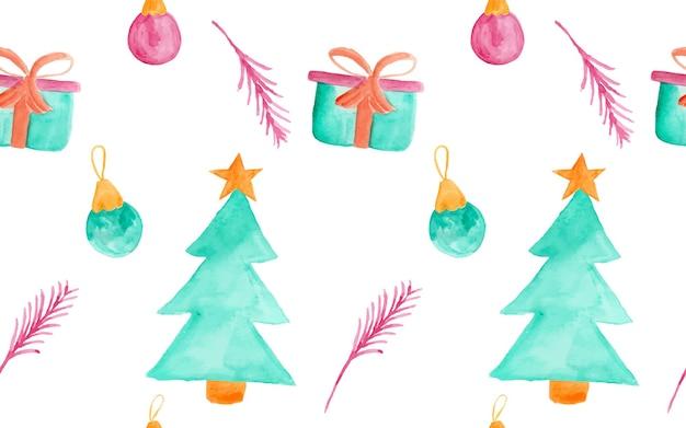 Acuarela lindo y divertido doodle adorno navideño como patrón sin costuras