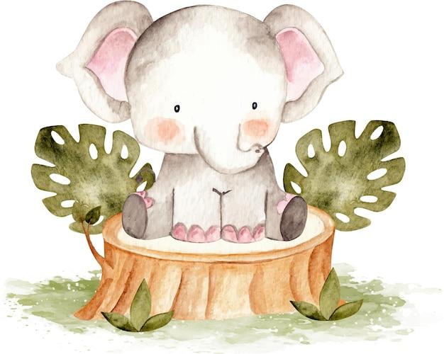 Acuarela lindo elefante bebé sentado en la madera