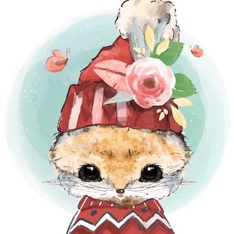 Acuarela lindo gato de invierno