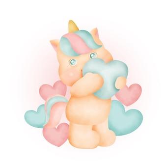 Acuarela lindo unicornio con corazones.