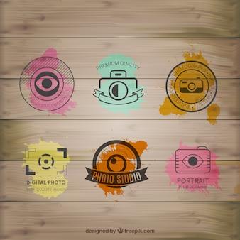 Acuarela logos de fotografía en madera