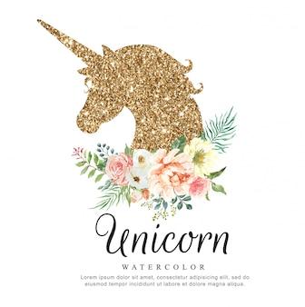 Acuarela de lujo unicornio con ramo de flores.