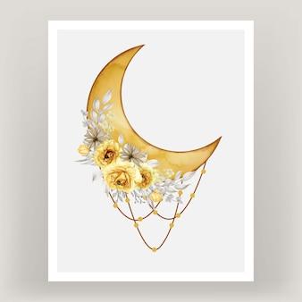 Acuarela luna llena tono amarillo con flor rosa