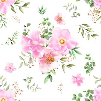 Acuarela de magnolia de patrones sin fisuras