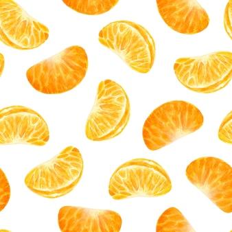 Acuarela mandarina rodajas de patrones sin fisuras