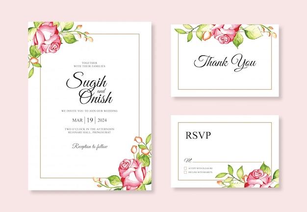 Acuarela de mano para plantillas de invitación de boda