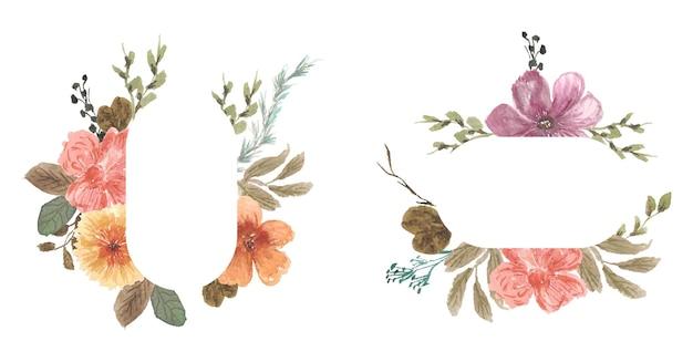 Acuarela de marco floral bastante vintage