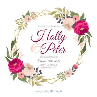 Acuarela de marco floral para invitación de boda