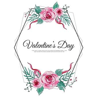Acuarela marco floral de san valentín