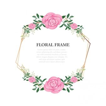 Acuarela marco floral