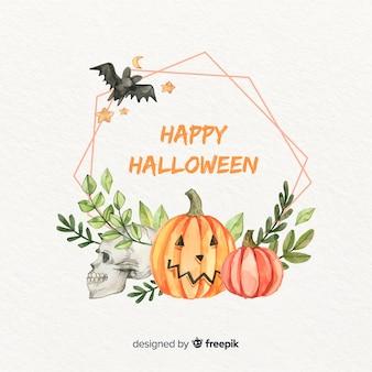 Acuarela marco de halloween con murciélago y hojas