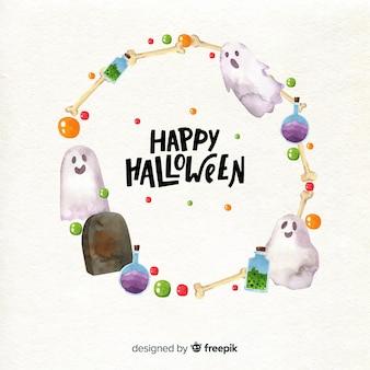 Acuarela marco de halloween
