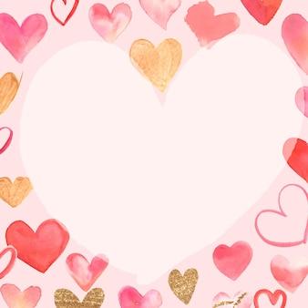 Acuarela de marco de san valentín