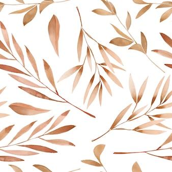 Acuarela marrón ramas de patrones sin fisuras