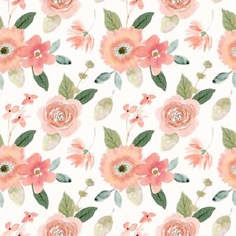 Acuarela melocotón floral de patrones sin fisuras