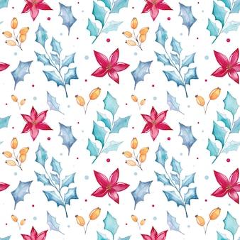 Acuarela navidad floral de patrones sin fisuras