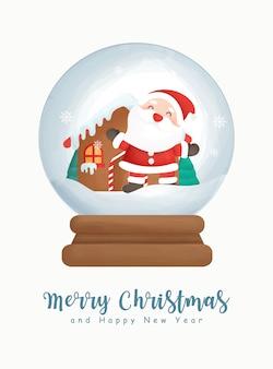 Acuarela de navidad con lindo papá noel en globo de nieve.