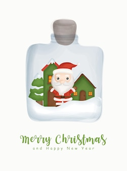Acuarela de navidad con lindo santa claus en un tarro para tarjeta de felicitación tarjeta de felicitación de año nuevo.