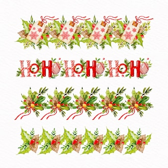 Acuarela navidad marcos y bordes