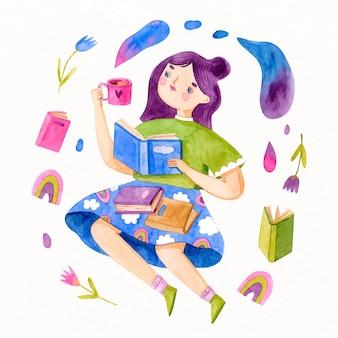 Acuarela niña con cabello violeta leyendo