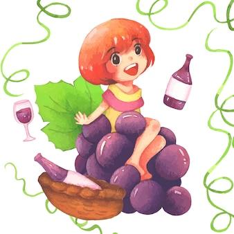 Acuarela de niña de uva