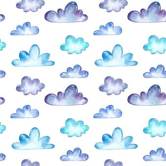 Acuarela nubes patrón sin costuras