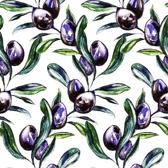 Acuarela de oliva de patrones sin fisuras.