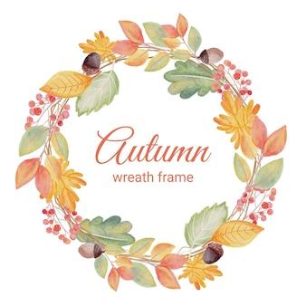 Acuarela otoño otoño hojas corona marco banner o plantilla de logotipo