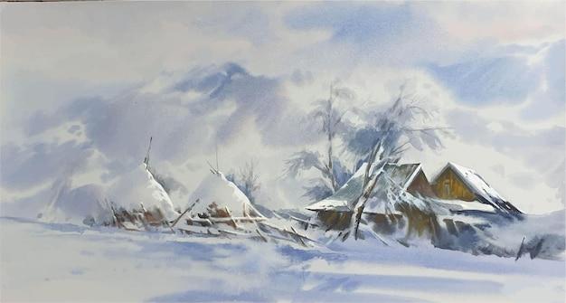 Acuarela paisaje de invierno con montañas cubiertas de nieve