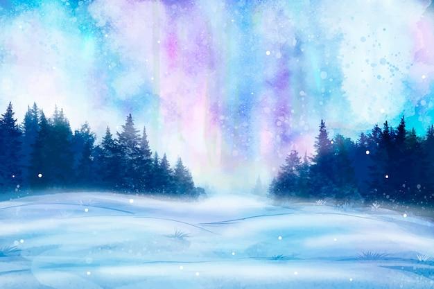 Acuarela paisaje de invierno